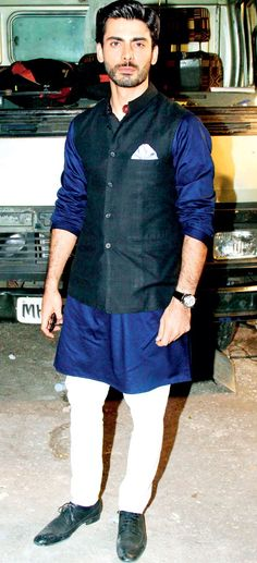 Fawaz khan in ink blue kurta and black Nehru jacket