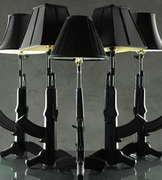 Lighting Made From Guns......so cool, if you know my husband