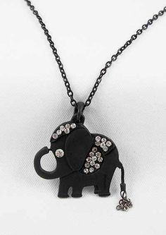 SALE! Black Rhinestone Happy Elephant Necklace