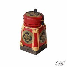 Thai Rice Basket Box. Traditional HandPainted Pot by SiamSawadee, $29.99 Woven Baskets, Basket Weaving, Rice Box, Pots, Thai Rice, Northern Thailand, Rattan Basket, Thai Style, Antiquities
