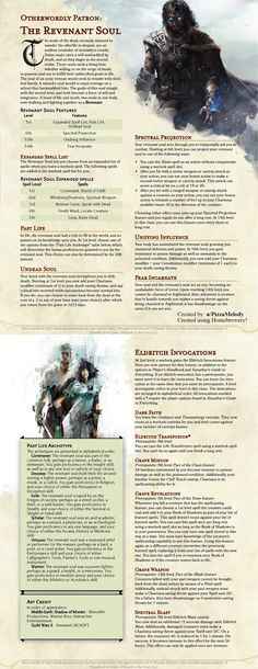 Homebrewing class Warlock Patron: The Revenant Soul (REVISED! Become a half-undead and defy death as a twin-soul being! Dungeons And Dragons Classes, Dungeons And Dragons Homebrew, Dungeons And Dragons Characters, Dnd Characters, Warlock Spells, Warlock Dnd, Warlock Class, Dnd Sorcerer, 5e Races