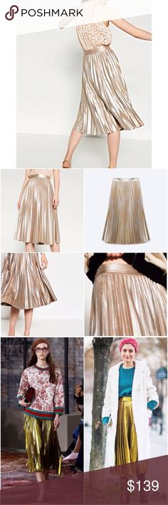 Zara Rusty Gold Suede Pleated Metallic Midi Skirt Olivia Palermo, Alexa Chung, Emma Stone Favorite Style  GUCCI Pleated Skirt Style  Limited Edition!! Sold Out Everywhere!!  ️$129 through PayPal️  Product Detail: • Ref#: 2969/045 • Flare pleated skirt with waist seam • Mid length • Side zip fastening • A line • Color: Rusty gold • Size: S • Material: 100% Polyester • 100% BRAND NEW AND AUTHENTIC WITH TAG Zara Skirts Midi