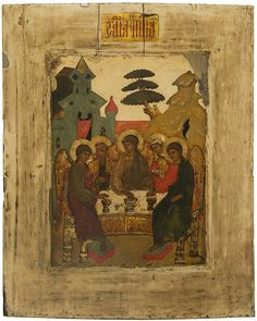 A RUSSIAN ICON OF THE HOSPITALITY OF ABRAHAM (OLD TESTAMENT TRINITY), 17TH CENTURY OR POSSIBLY 19TH IN THE STYLE OF 17TH CENTURY , the icon depicts Abraham and Sarah welcoming three pilgrims for a meal, the pilgrims are disguised messenger angels of God, the center of the background is occupied by an oak tree for which the village of Mamre is famous. Egg tempera, gold leaf and gesso on wood panel with kovcheg. Two insert splints on the back. 31 x 25 cm (12 ¼ x 9 7/8 ...