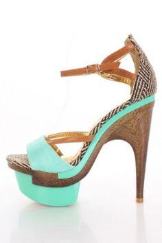 Mint Faux Leather Woven Open Toe Ankle Strap Platform Heels