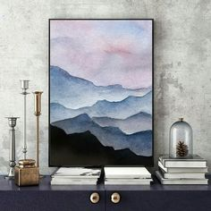 Excited to share the latest addition to my #etsy shop: Watercolor Mountains, Fine Art Print, Contemporary Art, Mountain Painting, Modern Art, Blue Mountains, Abstract Art, Mountains Art Print http://etsy.me/2j3ITAo