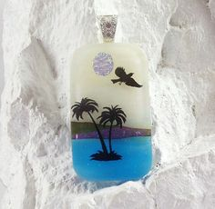 The Tropics Scenic Art Handmade Dichroic Glass Pendant with Necklace Gift Box #LolasGlassPendants #GlassPendant