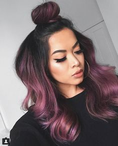 Rose gold hair color is here to stay and we are living for it! Read on for ideas on how to turn your rose gold hair color dreams into a reality. Gold Hair Colors, Hair Dye Colors, Cool Hair Color, Violet Hair Colors, Subtle Purple Hair, Deep Burgundy Hair Color, Hair Color Ideas, Purple Black Hair, Purple Hair Streaks