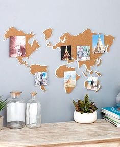 Designed with the world traveler in mind, this World Map Corkboard is a creative and decorative way to get organized. Hang photos, to do lists, appointment