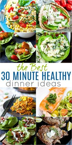 30 of the BEST 30 Minute Healthy Dinners to get you back to school ready! From Vegetarian recipes, to Chicken, Beef, Gluten Free, or Paleo . whatever your dietary need AND full of flavor! 30 of the BEST 30 Minute Healthy Dinners to get you Clean Eating Dinner, Clean Eating Snacks, Healthy Eating, Clean Eating Grocery List, Heart Healthy Recipes, Healthy Dinner Recipes, Vegetarian Recipes, Easy Recipes, Vegetable Recipes