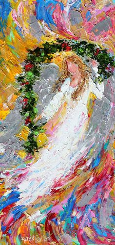 Original oil painting Christmas Angel abstract palette knife impressionism on canvas fine art by Karen Tarlton ((want the painting or acrylic print NOT a paper print))