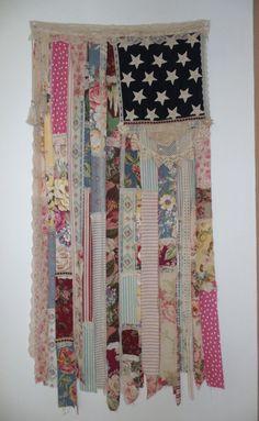 Shabby cottage Chic American flag folk art  boho cowgirl Americana