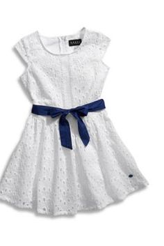 Little Girl Eyelet Dress With Contrast Lining | guess kids