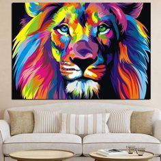 Tableau Pop Art Lion Abstract Canvas Wall Art, Large Canvas Wall Art, Canvas Art Prints, Canvas Frame, Canvas Paintings, Lion Painting, Oil Painting Abstract, Acrylic Painting Canvas, Photo Pop Art