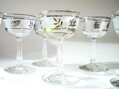 http://www.etsy.com/treasury/NTM5ODkzNXwyNzIzMTkzMzAw/bed-and-breakfastMid Century Barware /  Vintage Wine Glass Martini Cocktail 6. $36.00, via Etsy.