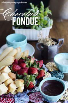 Chocolate Fondue recipe :: Celebrate National Pound Cake Day (http://celebratingeverydaylife.com)