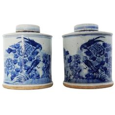 Blue & White Porcelain Ginger Jars - A Pair (760 CAD) ❤ liked on Polyvore featuring home, home decor, ginger jars, porcelain ginger jar, blue white porcelain ginger jar, blue white ginger jar, blue and white home decor and blue and white porcelain ginger jars