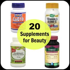 20 Supplements for Beauty - A comprehensive list of vitamins, minerals, and herbs that are commonly taken for skin issues, anti-aging, thinning hair, brittle nails, and weight loss. Find out which are worth adding to your regimen.