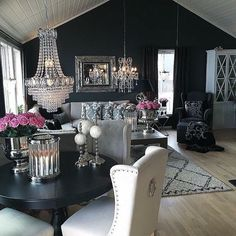 Interior Design Ideas for a glamorous Dining Room Living Room Decor, Living Spaces, Bedroom Decor, Dining Room, Living Room Inspiration, Home Decor Inspiration, Decor Ideas, Decor Diy, Room Ideas