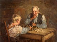 The Draught Players -   Playing checkers with Grampa.