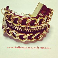 DIY Bracelet with Zipper and Chain