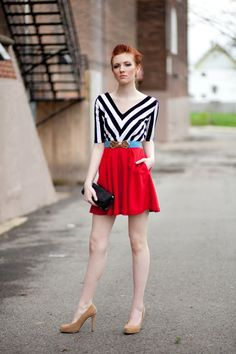 Black & White Chevron Striped Party dress with Pockets - Available with Red or Black bottom. $112.00, via Etsy.