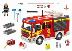 Fire Engine with Lights & Sound by Playmobil - Playmobil - Playmobil encourages learning through interactive play and this set can be played on its own, or combine with other Playmobil sets for hours of fun. Play Mobile, Toy Playhouse, Playmobil Sets, Fire Hose, Pack And Ship, Action, Fire Engine, Useful Life Hacks, Lego City