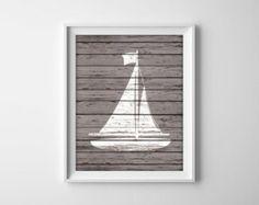 Nautical Sailboat Wood Art Prints - Rustic Nautical Decor - Beach House Bathroom Decor - Sail Boat Ship Silhouette Sailing Art - SKU: 042-E
