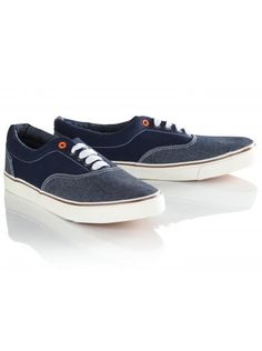 Navy blue canvas lace-up plimsolls by Twisted Soul with denim front panel, padded opening, contrast stitching and vulcanized sole. Double Denim, Go Blue, Plimsolls, Blue Canvas, Summer Shoes, Latest Trends, Vans, Lace Up, Stylish