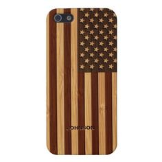 Bamboo Look & Engraved Vintage American USA Flag iPhone 5 Cases