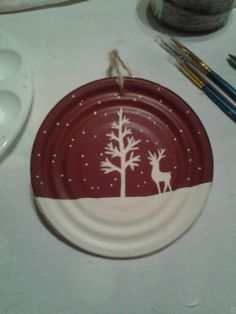white deer Hand painted ornament made from old tin can lid