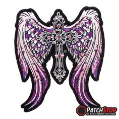 "Purple Angelic Wings & Cross Patch, Ladies Back Patches - Very detailed embroidered purple and pink angel wings with a grey cross in the middle on a cut-out patch with a black border. The Purple Angelic Wings & Cross patch is available in 2 sizes Small patch measures 4"" W x 4.5"" H (10.2cm x 11.4cm) Large patch measures 8.5"" W x 10"" H (21.6cm x 25.4cm)"
