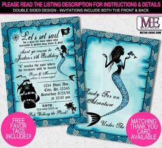 Mermaid and Pirate Invitation, Little Mermaid Invitations, Pirate Invitations, Unisex Birthday, Vintage Pirate Invite, Mermaid Invitations