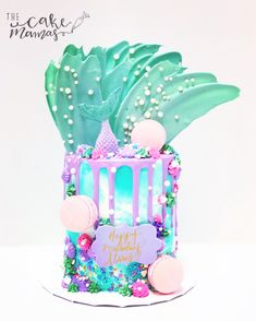 Call or email to book your special cake today! Chocolate Drip Cake, Chocolate Buttercream, Cute Cakes, Pretty Cakes, Fondant Cakes, Cupcake Cakes, Sirenita Cake, Nake Cake, Macaroon Cake