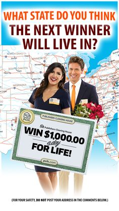 The Prize Patrol could be heading to your state next! Get those entries in for your chance at winning BIG! 10 Million Dollars, Instant Win Sweepstakes, Win For Life, Publisher Clearing House, Winning Numbers, Win My Heart, Become A Millionaire, Perfect Boyfriend, Helping Other People