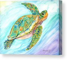 Kauai Art Canvas Print featuring the painting Swimming, Smiling Sea Turtle by Marionette Taboniar