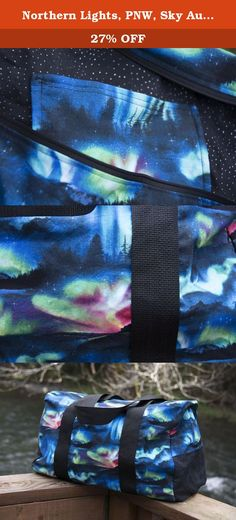 Northern Lights, PNW, Sky Aurora Unique Handmade Duffel Bag, Carry On Sized, Airplane Luggage. CARRY ON SIZE! The complete bagging solution! This custom, unique, one of a kind, handmade duffel bag is ready for the taking. This handmade bag is a great overnight bag, sports bag, gym bag, travel bag, diaper bag, large( uh..HUGE!) purse, or just whenever you might need a big ol' bag. The best part of all...it's fold-able for easy storage in a drawer. You'll look amazing carrying it around...