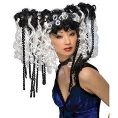Perruque bouclée Curly Locks noire et blanche femme, Halloween, wig