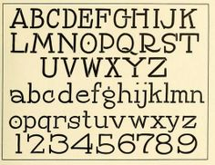 """Stencil effect brush alphabet. from the public domain book, """"Daily's showcard writing system, complete in thirty-four lessons; formerly """"the Haberdasher"""" (1921)""""."""