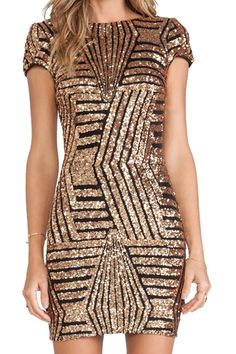 Sequins Backless Short Sleeve Dress