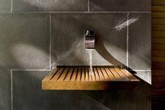 wood slatted sink, Writer's Studio by Cooper Joseph Studio, Ghent, NY