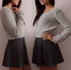 Grey Sweater paired with a cute black skirt. Areopostale ♡
