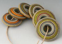 Rustic Discs - (8) Handmade Lampwork Beads - Butternut, Green, Brown