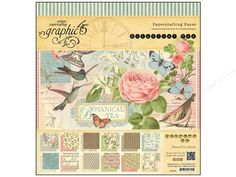 """Graphic 45 , has become synonymous with vintage style, familiar and endearing, yet fresh and appealing. Images of yesterday for today and tomorrow. Each pad contains multiple sheets of patterned paper, as well as some coordinating sheets with die-cuts. Of course all papers are Acid and Lignin Free. 12""""x 12"""" Botanical Tea- 2 sheets each of 12 double sided styles. designs include flowers, birds, dots, script text, postage, stripes, dragonflies, butterflies, captions of """"Flora And Fauna""""…"""