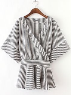 Buy Black And White Stripe Bow Wrapped Blouse from abaday.com, FREE shipping Worldwide - Fashion Clothing, Latest Street Fashion At Abaday.com