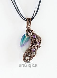 OOAK green and purple agate and pearls wire wrapped pendant