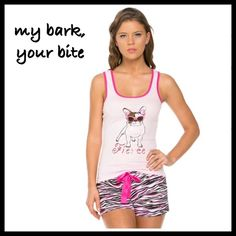"BITE ME PAJAMAS - SIZE S A soft 100% cotton racer back top in soft pink, trimmed in hot pink, with a little pup stamped on the front wearing sunglasses, and the word ""Fierce"" underneath. Coordinating drawstring bottoms in black and hot pink zebra with a pink satin drawstring.  Perfect for when you feel like some Power Poshing, or just cuddle time. Both top and bottoms have a nice hemmed finish. Great for yourself, or your best boo' Sizes S (2/4) M(6/8) L (10/12) XL (14) No trades, price is…"