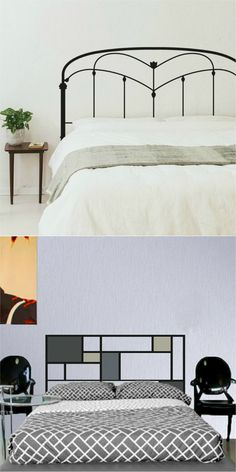 Cabeceiras de cama com fitas adesivas.