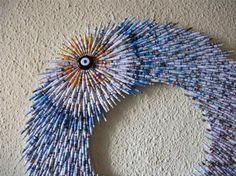 Paper Beads Evil Eye Wall Mirror Recycling by neduk on Etsy, $170.00
