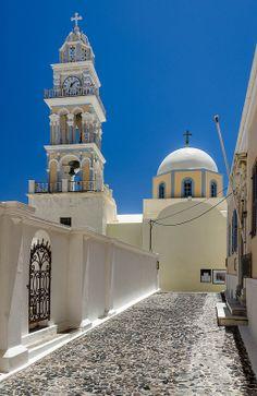 Saint John the Baptist Catholic church, in the town of Fira on Santorini, Greece