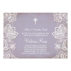 Shop First Communion Baptism Invitation Purple Vintage created by VGInvites. Personalize it with photos & text or purchase as is! First Communion Party, First Communion Invitations, Christening Invitations, First Holy Communion, Bridal Shower Invitations, Vintage Invitations, Zazzle Invitations, Invites, Catholic Communion